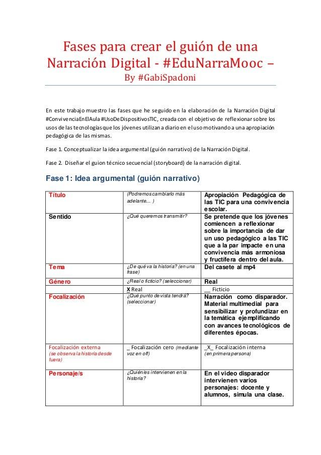 Fases para crear el guión de una Narración Digital - #EduNarraMóóc – By #GabiSpadóni En este trabajo muestro las fases que...