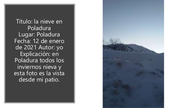 Lugar : el lugar se llama los Fontanales en Rodiezmo de la tercia. Fecha : 8 de enero del 2021 Autor : yo Esta es una de m...