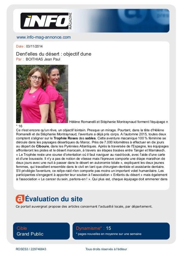 www.info-mag-annonce.com  Date : 03/11/2014  Dent'elles du désert : objectif dune  Par : BOITHIAS Jean Paul  Hélène Romane...