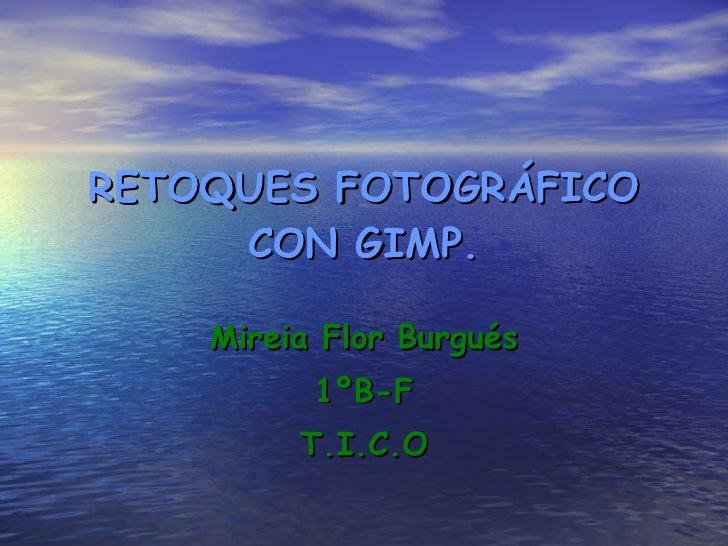 RETOQUES FOTOGRÁFICO CON GIMP. Mireia Flor Burgués 1ºB-F T.I.C.O