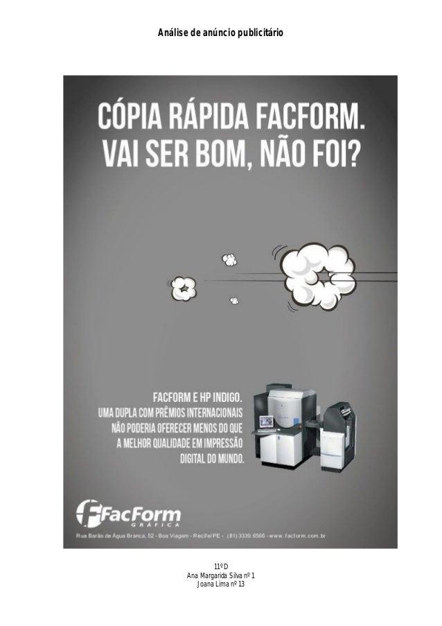 Análise de anúncio publicitário               11º D       Ana Margarida Silva nº 1          Joana Lima nº 13