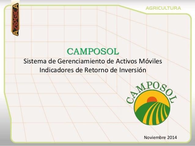 CAMPOSOL Sistema de Gerenciamiento de Activos Móviles Indicadores de Retorno de Inversión Noviembre 2014