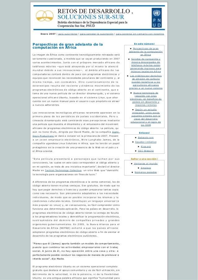 Enestenúmero: Enlaces: Saltaraunasección: Enero 2007   para suscribirse   paracancelarlasuscripción   para ponerse...