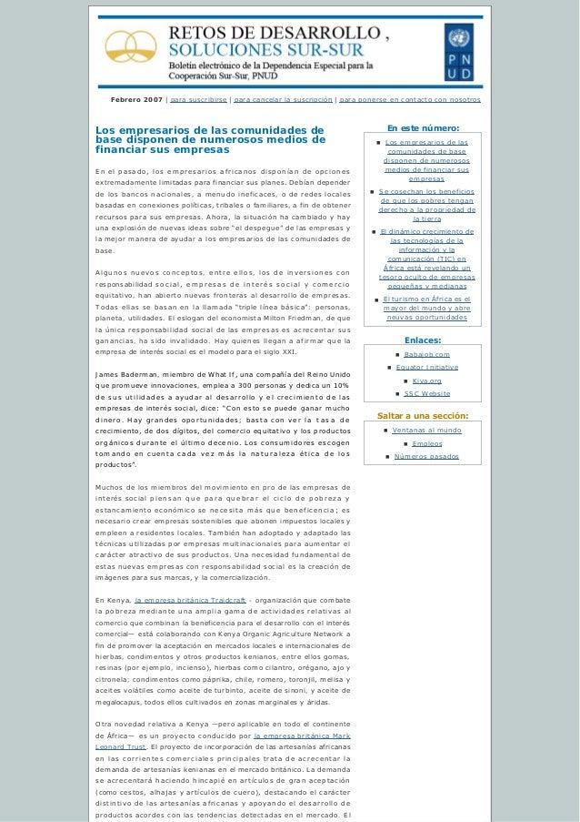 Enestenúmero: Enlaces: Saltaraunasección: Febrero 2007 | para suscribirse | paracancelarlasuscripción | para poner...
