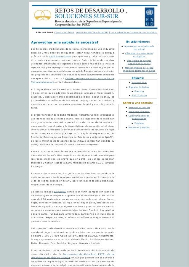Enestenúmero: Enlaces: Saltaraunasección: Febrero 2008 | para suscribirse | para cancelar lasuscripción | para poner...
