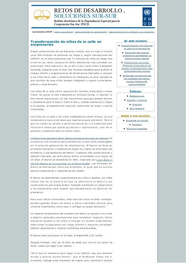 Enestenúmero: Enlaces: Saltaraunasección: noviembre 2007 | para suscribirse | paracancelarlasuscripción | para pon...