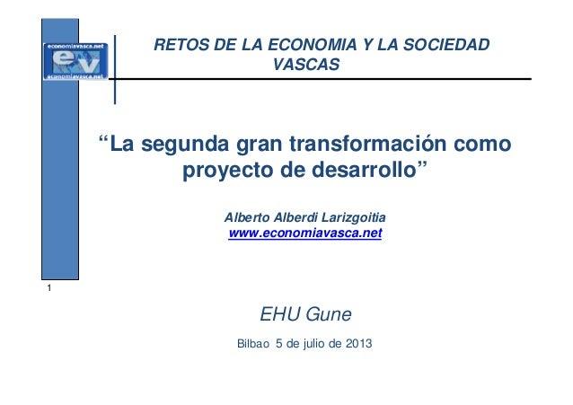 """RETOS DE LA ECONOMIA Y LA SOCIEDAD VASCAS  """"La segunda gran transformación como proyecto de desarrollo"""" Alberto Alberdi La..."""