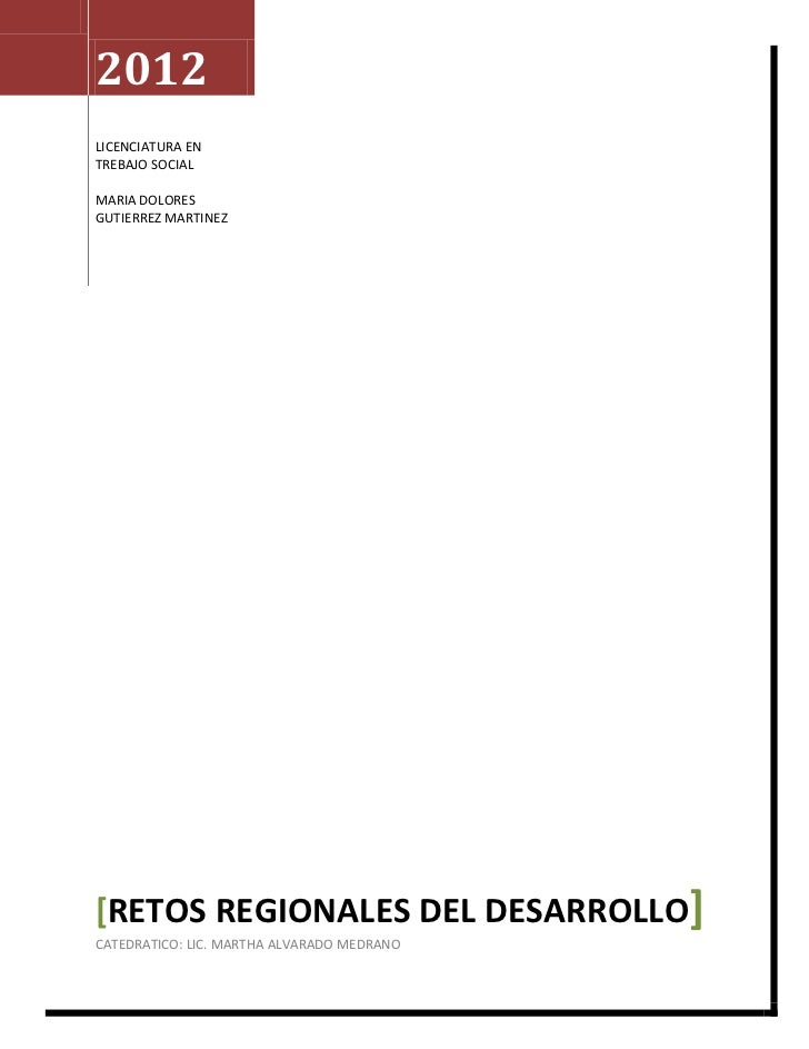 2012LICENCIATURA ENTREBAJO SOCIALMARIA DOLORESGUTIERREZ MARTINEZ[RETOS REGIONALES DEL DESARROLLO]CATEDRATICO: LIC. MARTHA ...