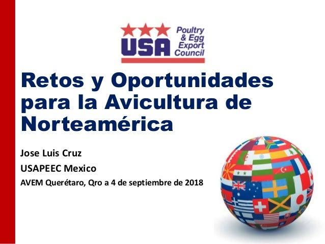 Retos y Oportunidades para la Avicultura de Norteamérica Jose Luis Cruz USAPEEC Mexico AVEM Querétaro, Qro a 4 de septiemb...
