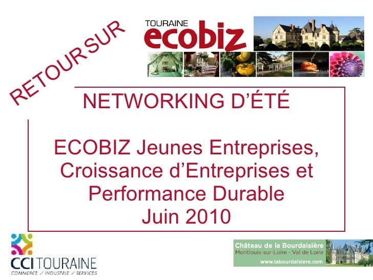 NETWORKING   D'ÉTÉ ECOBIZ Jeunes Entreprises, Croissance d'Entreprises et Performance Durable Juin 2010 RETOUR   SUR