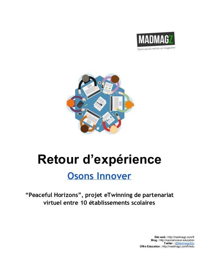 """Retourd'expérience Osons Innover """"Peaceful Horizons"""", projet eTwinning de partenariat virtuel entre 10 établissement..."""