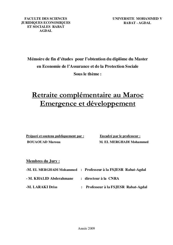 FACULTE DES SCIENCES                                   UNIVERSITE MOHAMMED V JURIDIQUES ECONOMIQUES                       ...