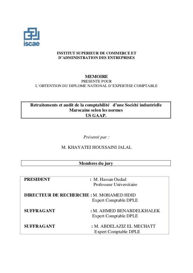 INSTITUT SUPERIEUR DE COMMERCE ET D'ADMINISTRATION DES ENTREPRISES MEMOIRE PRESENTE POUR L'OBTENTION DU DIPLOME NATIONAL D...