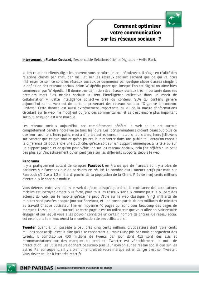 Intervenant : Florian Coutard, Responsable Relations Clients Digitales - Hello Bank « Les relations clients digitales peuv...