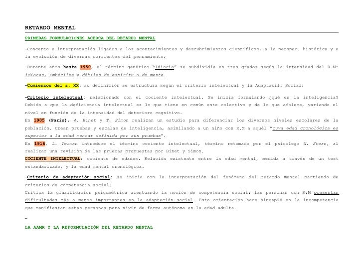 RETARDO MENTALPRIMERAS FORMULACIONES ACERCA DEL RETARDO MENTAL–Concepto e interpretación ligados a los acontecimientos y d...