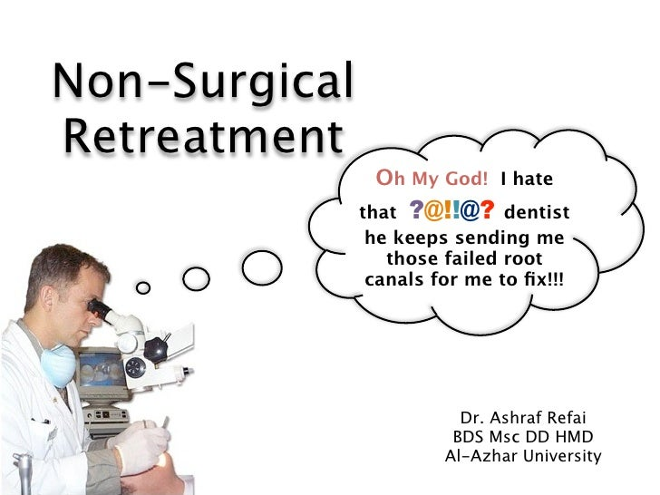 Non-SurgicalRetreatment                Oh My God! I hate               that ?@!!@? dentist                he keeps sending...