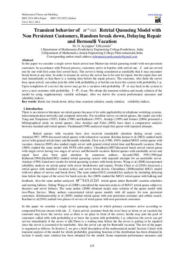 Mathematical Theory and Modeling www.iiste.org ISSN 2224-5804 (Paper) ISSN 2225-0522 (Online) Vol.4, No.3, 2014 125 Transi...