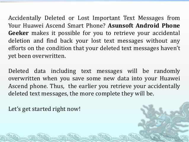 Retrieve Deleted Text Messages from Huawei Ascend