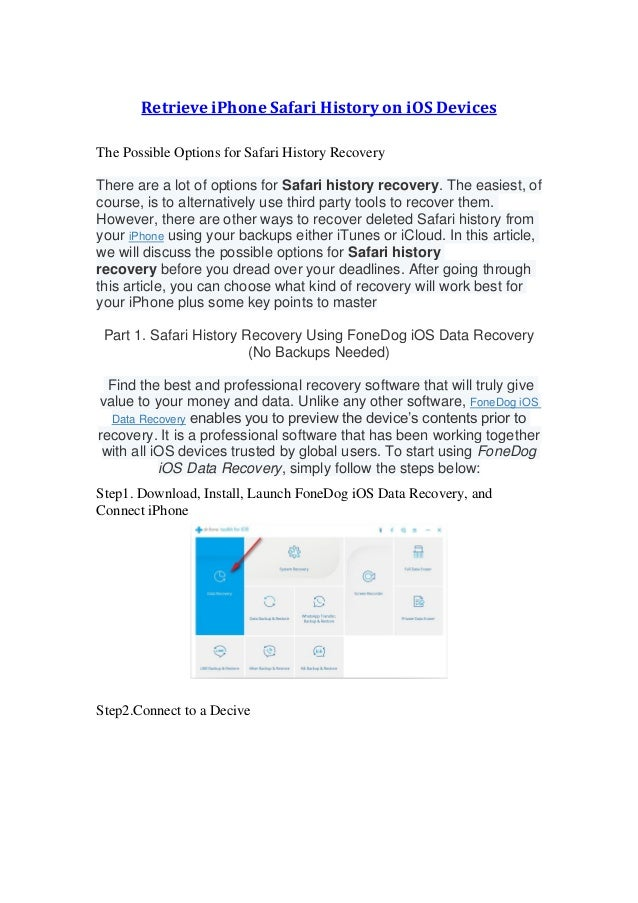 Retrieve iphone safari history on ios devices
