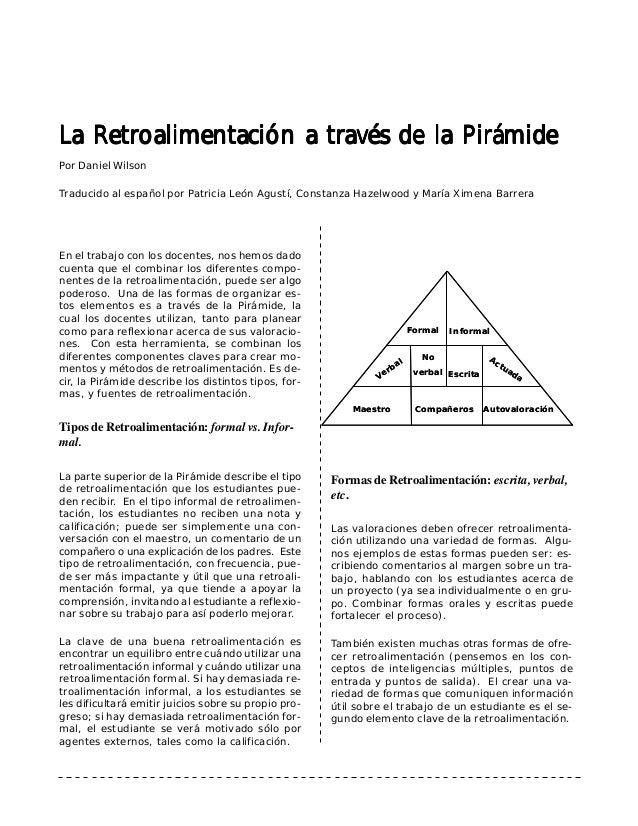 La Retroalimentación a través de la Pirámide  Por Daniel Wilson  Traducido al español por Patricia León Agustí, Constanza ...