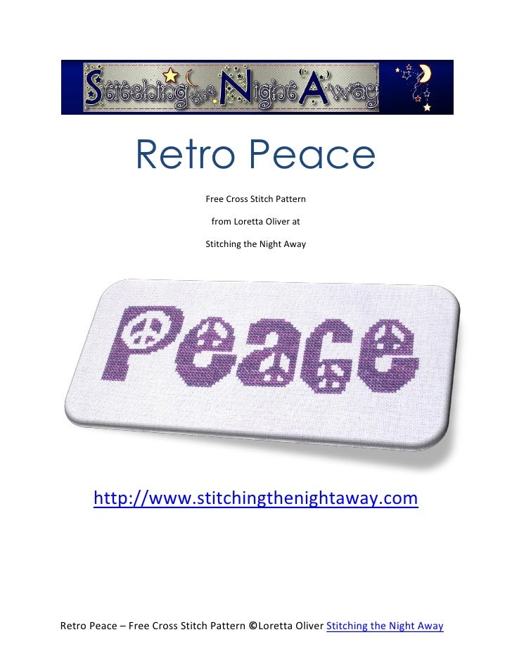 Retro Peace                              Free Cross Stitch Pattern                               from Loretta Oliver at   ...