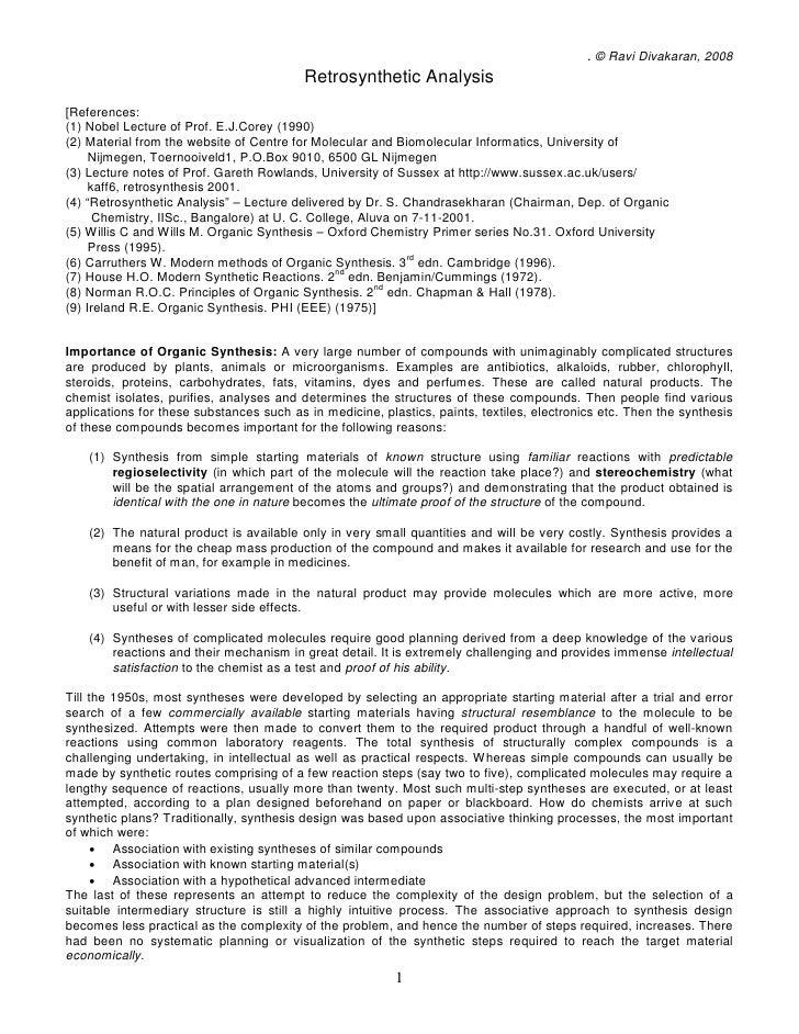 . © Ravi Divakaran, 2008                                           Retrosynthetic Analysis [References: (1) Nobel Lecture ...