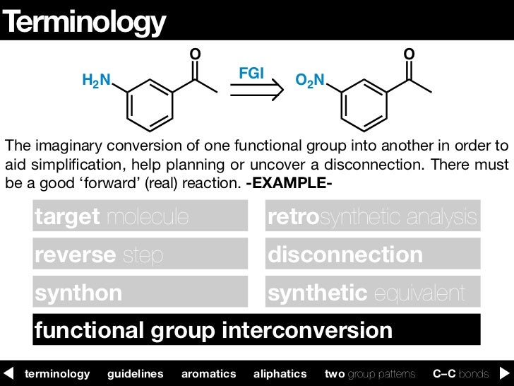 Functional group interconversion retrosynthesis