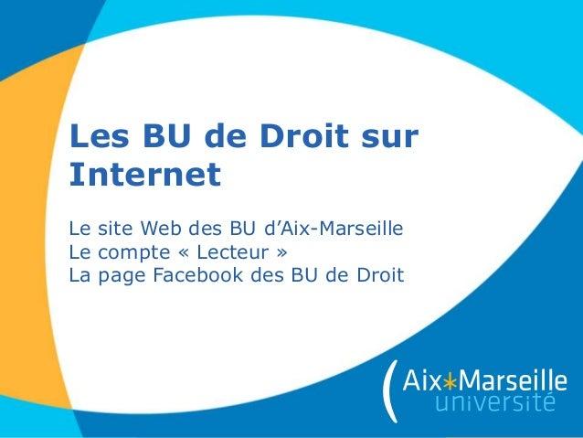 Les BU de Droit sur Internet Le site Web des BU d'Aix-Marseille Le compte « Lecteur » La page Facebook des BU de Droit