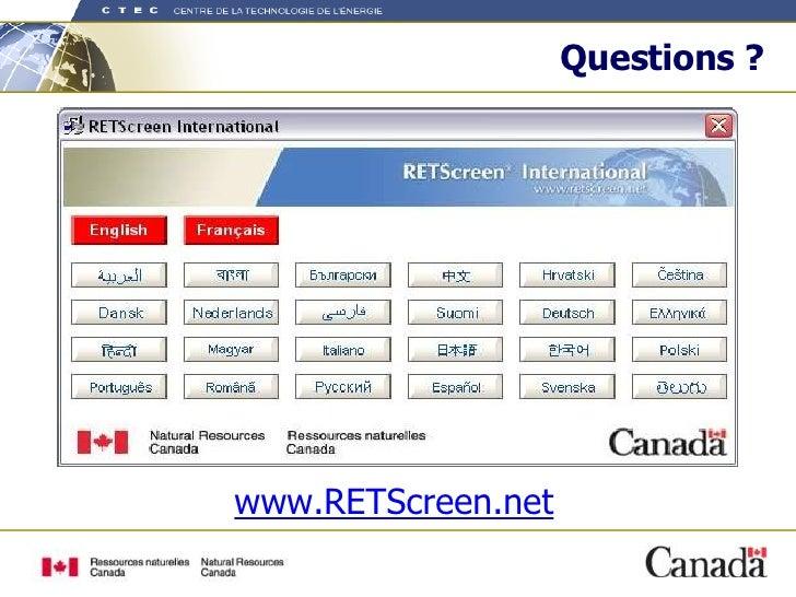Questions ? www.RETScreen.net