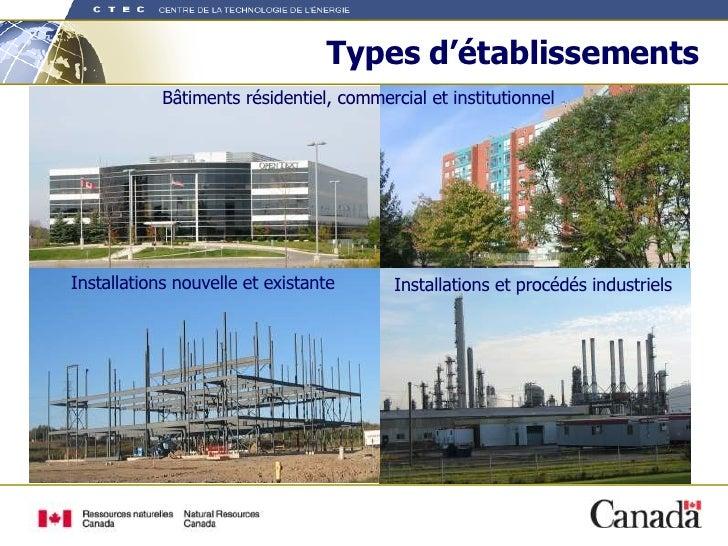 Types d'établissements Bâtiments résidentiel, commercial et institutionnel Installations et procédés industriels Installat...