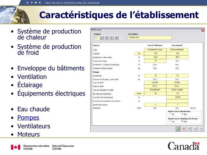 Caractéristiques de l'établissement <ul><li>Système de production de chaleur </li></ul><ul><li>Système de production  de f...