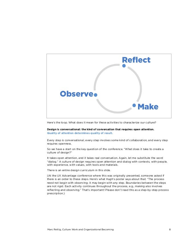 Marc Rettig, Culture Work and Organizational Becoming 8 Here's the loop. What does it mean for these activities to charact...