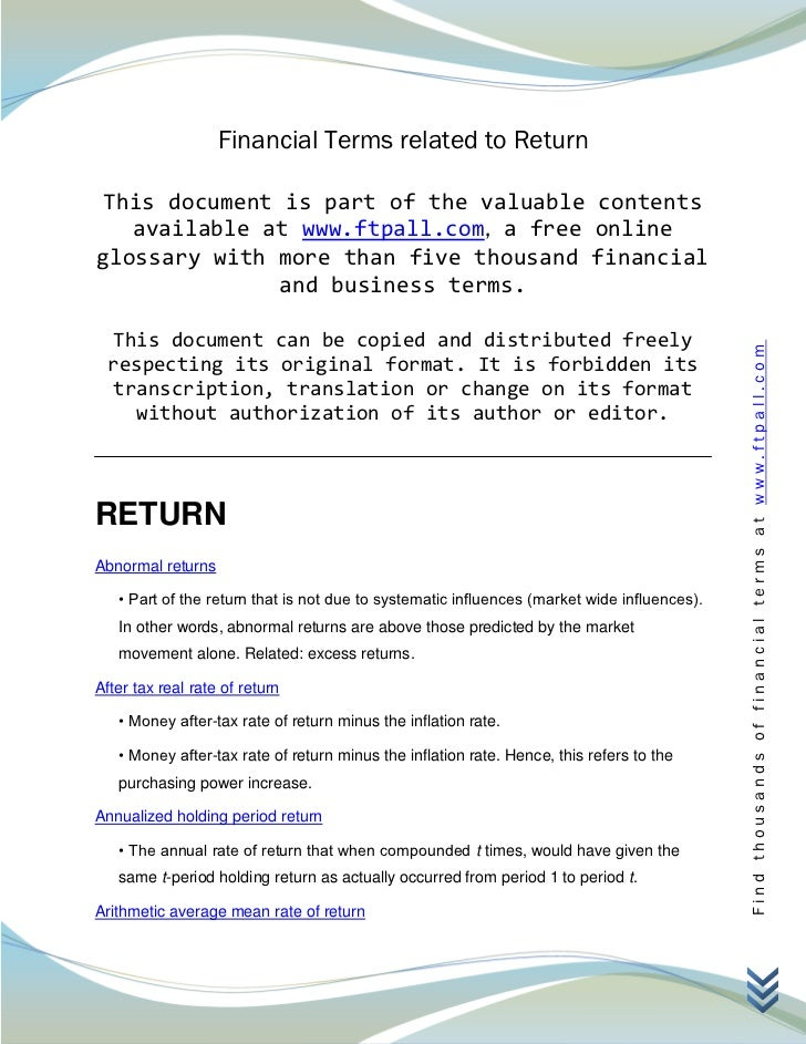 Financial Terms related to Return This document is part of the valuable contents   available at www.ftpall.com, a free onl...