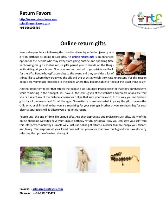 Return Favors http://www.returnfavors.com sales@returnfavors.com +91-9561095459  Online return gifts Now a day people are ...