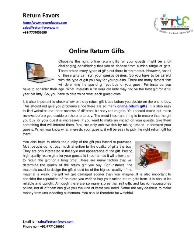 Return Favors http://www.returnfavors.com sales@returnfavors.com +91-7774056650  Online Return Gifts Choosing the right on...
