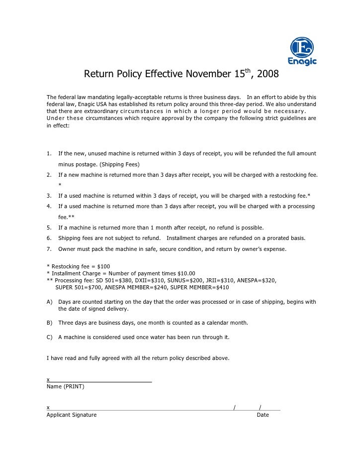 Return Policy Effective November 15th, 2008  The federal law mandating legally-acceptable returns is three business days. ...
