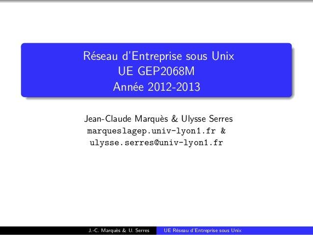 Réseau d'Entreprise sous Unix  UE GEP2068M  Année 2012-2013  Jean-Claude Marquès & Ulysse Serres  marqueslagep.univ-lyon1....