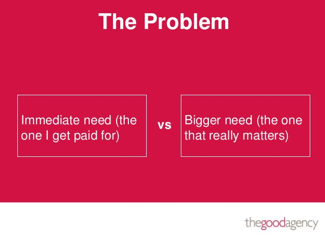 Immediate need (theone I get paid for)Bigger need (the onethat really matters)vsThe Problem