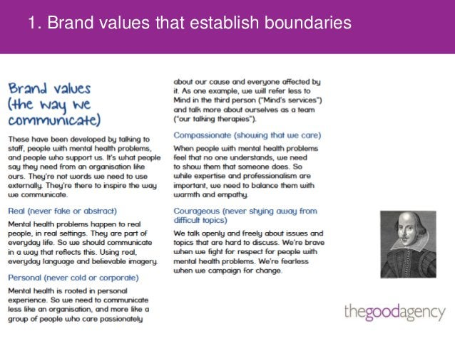 1. Brand values that establish boundaries