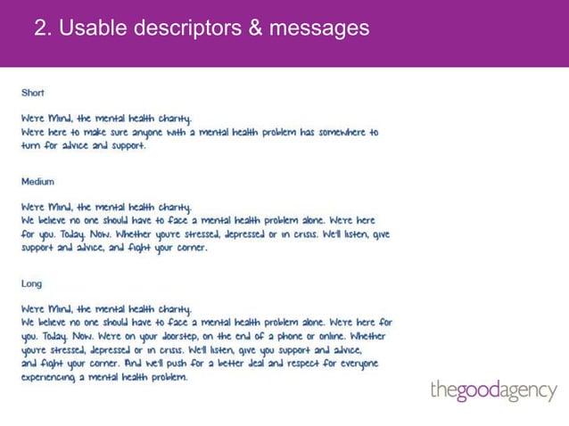 2. Usable descriptors & messages