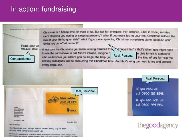 In action: fundraisingReal, PersonalReal, PersonalCompassionateReal, Personal