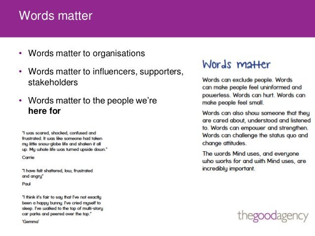 Words matter• Words matter to organisations• Words matter to influencers, supporters,stakeholders• Words matter to the peo...