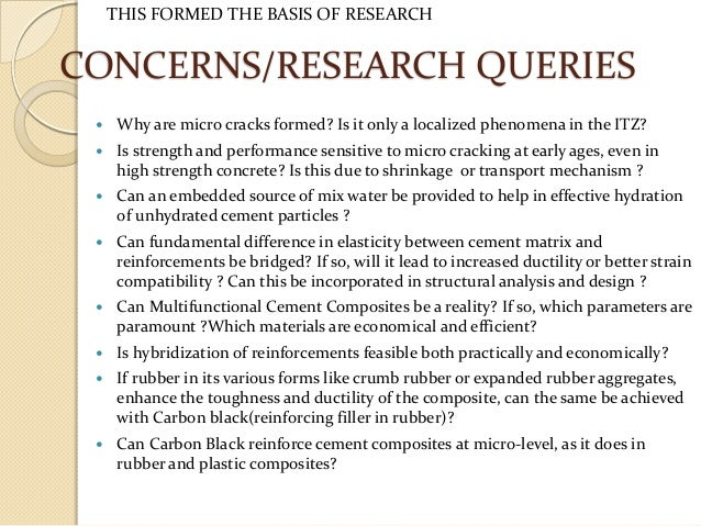 cement research paper This article will focus on recent research work in the field of nanoscience  applications to cement and concrete at the nrc-irc a particular attention will be  given.