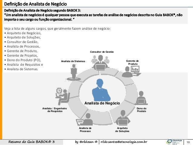 """by @rildosan ®   rildo.santos@etecnologia.com.brResumo do Guia BABOK® 3 Definição de Analista de Negóciosegundo BABOK 3: """"..."""