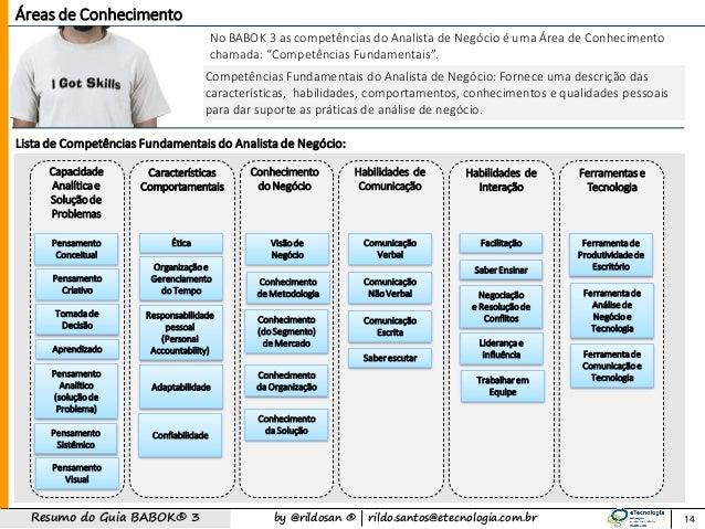 by @rildosan ®   rildo.santos@etecnologia.com.brResumo do Guia BABOK® 3 14 Competências Fundamentais do Analista de Negóci...