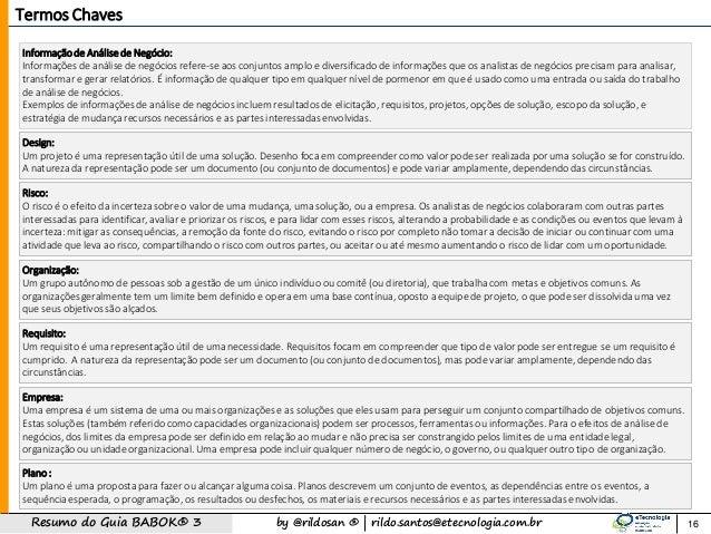 by @rildosan ®   rildo.santos@etecnologia.com.brResumo do Guia BABOK® 3 Informação de Análise de Negócio: Informações de a...