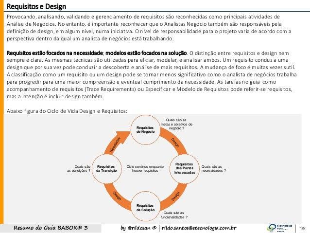 by @rildosan ®   rildo.santos@etecnologia.com.brResumo do Guia BABOK® 3 19 Requisitos e Design Provocando, analisando, val...