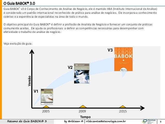 by @rildosan ®   rildo.santos@etecnologia.com.brResumo do Guia BABOK® 3 8 O Guia BABOK® 3.0 Guia BABOK® v3 é Corpo de Conh...