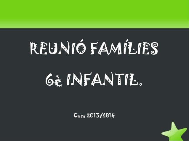 REUNIÓ FAMÍLIES 6è INFANTIL. Curs 2013/2014