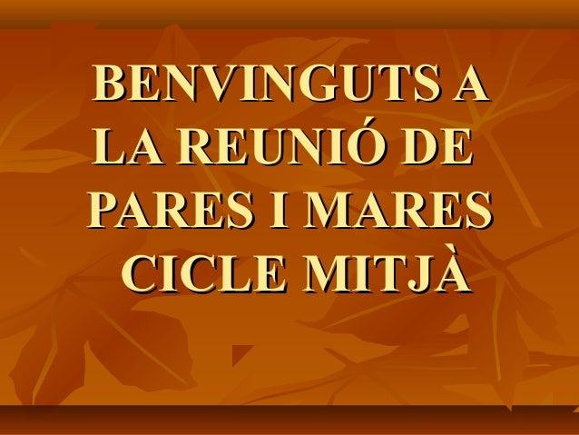 BENVINGUTS ABENVINGUTS A LA REUNIÓ DELA REUNIÓ DE PARES I MARESPARES I MARES CICLE MITJÀCICLE MITJÀ